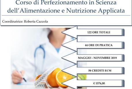 Sono aperte le iscrizioni per la Terza Edizione del Corso di Perfezionamento in Scienza dell'Alimentazione e Nutrizione Applicata