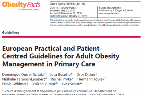 European Practical and Patient- Centred Guidelines for Adult Obesity Management in Primary Care