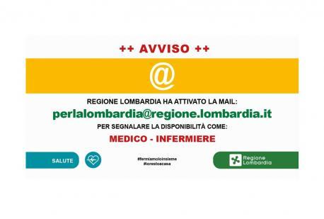 Regione Lombardia cerca la disponibilità di medici ed infermieri